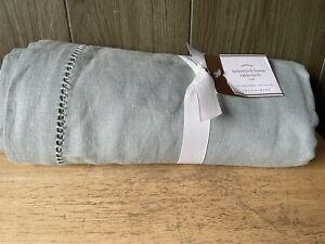 "Pottery Barn Hemstitch Linen Tablecloth 70""x 108"" Sage Green New A2T"