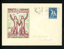 Postal History Netherlands Scott #B326 UN Human Rights Slogan 1958 Amsterdam