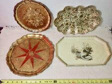 Mid Century Ornate Painted Wood Serving Trays Vintage Platters lot of 4 Italy