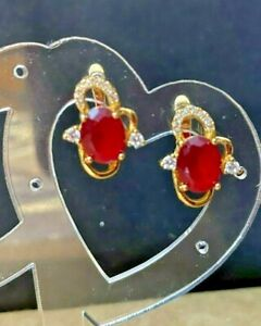 Yellow Gold Plated Cubic Zirconia Ruby Stone .925 Sterling Silver Earrings