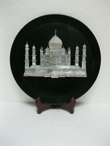 10 Inches Taj Mahal Replica Inlaid Collectible Plate Royal Marble Giftable Plate