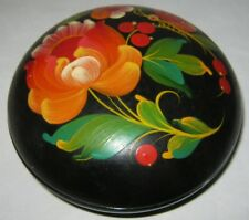 Vintage Art Deco Style USSR Hand Painted Jewelry Wooden Box