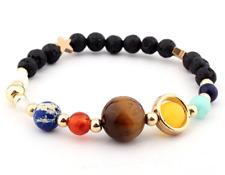 "Chakra Solar System Lava Beads 7"" Bracelet Universe Galaxy Planets Bangle"