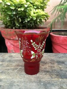 1800's Antique Old Hand Carved Red Glass Oil Lamp Flower Print Lamp Holder