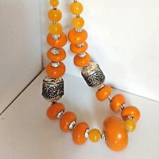 Berber Necklace Amber Moroccan African Beads Handmade Tribal Resin Vintage Coral