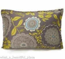 Amy Butler Lace Work Standard Sham Floral Gray Blue Yellow Ivory Organic Cotton
