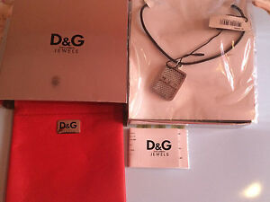 New Authentic Dolce & Gabbana D&G DJ0452 Dog Tag Pendant Mesh Necklace Gift