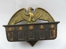Antique Wilton Eagle Cast Iron Hand Painted Gold Wall Pocket Match Holder Strike