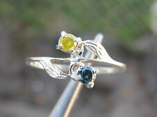 .25ctw BLUE & YELLOW DIAMOND RING!! NATURAL EARTH MINED DIAMONDS, LEAF FLOWER 7