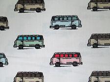 RETRO VW BUS MICRO PASTELS WHITE COTTON FABRIC BTHY
