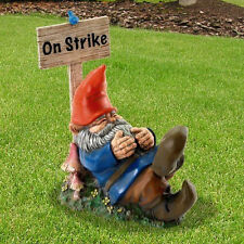 ON STRIKE Sleeping lazy Gnome outdoor Garden yard sleepy Statue Statuary nome