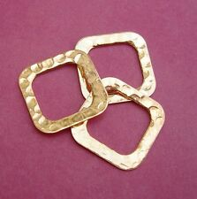 50pcs-Brass Connector Link Closed Square Hammered Gold Plated.