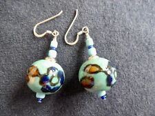 PATTERNED TURQUOISE CERAMIC BEAD EARRINGS, SILVER (925) HOOK FITTING