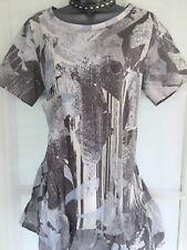 NEW NEXT 14 Ladies Short Sleeve Longline Frill Hem Grey Brown Cotton Tunic Top