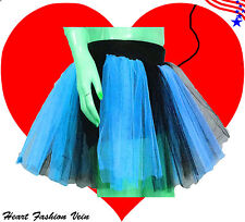 Plus Size Blue Black Tutu Skirt Butterfly Fairy Costume Halloween Christmas USA