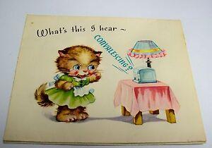 Vintage Unused Get Well Greeting Card - Comics on Parade BEARS POP-UP
