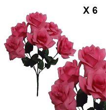 "(Pack of 6 ) Microfiber Pink Rose 14"" Bush Silk Flower Home Wedding Bridal Decor"