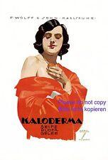 Kaloderma Seife XL Reklame 1924 Ludwig Hohlwein Dame in rot Erotik Karlsruhe +