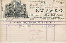1900 F. W. Allen & Co. Billhead Boston Ma Furniture Maker Sideboards Tables