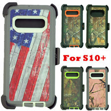 For Samsung Galaxy S10+ Plus Defender Camo Case W/Clip Holster Fits OtterBox