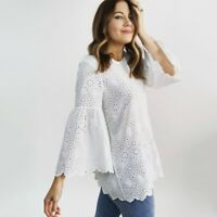 Scotch & Soda Bell Sleeve Eyelet Top  Women's Size XS