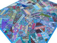 Quilt India Patchwork Bed cover King Turquoise Blue Handmade Vintage Patches V2