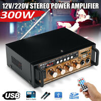 300W Mini HIFI Digital Audio Power Amplifier AMP FM Radio USB/TF 2CH Car