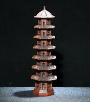 Chinese fengshui Decor Natural Boxwood Wenchang tower Statue 7 layers pagoda