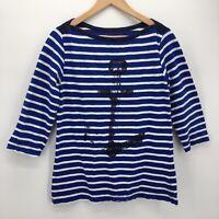 Hatley Womens Striped Breton TShirt Blue Large Nautical Anchor 3/4 Sleeves