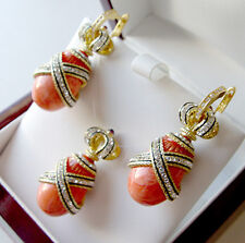 SALE ! SUPERB ENAMELED PENDANT & EARRINGS SET STERLING SILVER 925 GENUINE CORAL