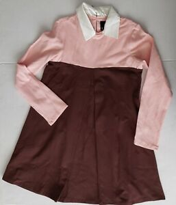 Girls Llum Dress Size 10 Pink and Brown with Satin Collar Long Sleeve
