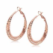 breathtaking 18k rose gold Triple row twisted hoop earrings