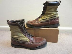 Rare Sebago Filson Mens 9.5 Moc Toe Leather and canvas boot Great Condition