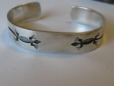 VTG MEXICO REAL OLDIE STERLING SILVER ETCHED GECKO  CUFF BANGLE BRACELET 31.1g