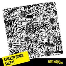 STICKER BOMB JAPAN DRIFT STYLE BLACK & WHITE SHEET 600MM X 600MM Car  #1266