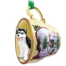 Husky Dog Christmas Holiday Teacup Ornament Figurine Blk/Wht Blue Eye