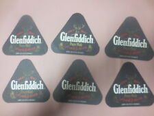 6 x GLENFIDDICH Scotch Whisky 1990,s Issue Spirits collectable Coasters BLACK