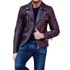 US Mens Faux Leather Biker Jackets Open Lapels Zippers Pockets Short Jacket Coat