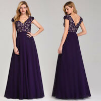 Ever-Pretty Cap sleeve V-Neck Long Evening Party Dress Bridesmaid Ball Gown 7344