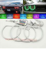 RGB 4 Halo Ring For Dodge Challenger Headlight 2008-214 LED Angel Eye Demon DRL