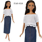 FAO-058 Denim skirt  white top full outfit for Barbie MTM and similar dolls