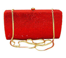Anthony David Red Crystal & Gold Metal Clutch Evening Bag w/ Swarovski Crystals