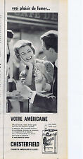 PUBLICITE ADVERTISING 094 1957 CHESTERFIELD cigarettes américaines