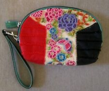 Isabella Fiore Wristlet Clutch w/Beaded Flowers & Butterfly, Patent Leather Trim