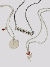 DISNEY OFFICIAL BEAUTY AND THE BEAST 3 BFF NECKLACE SET MOVIE QUOTE BELLE ROSE