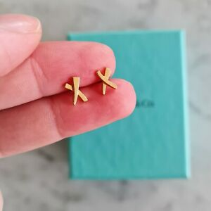 Tiffany & Co Paloma Picasso 18ct Gold Mini X Earrings Studs