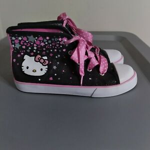 Sanrio Hello Kitty Confetti Youth Girls Size 3 Shoes Black/Pink High Top Sneaker