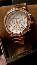 MICHAEL KORS ROSE GOLD TONE CHRONOGRAPH PAVE CRYSTALS PARKER BLING WATCH NEW