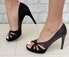 Nuevo Y En Caja Mo Helmi RRP £ 345 diseñador italiano Ante Tacones Zapatos Sandalias Negro Púrpura