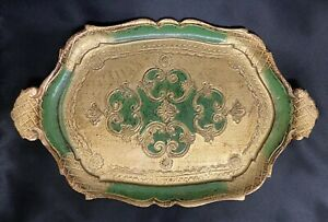 """Vintage Gold Gilt & Green Painted Wooden Florentine Tray Made in Italy 14"""" x 9"""""""
